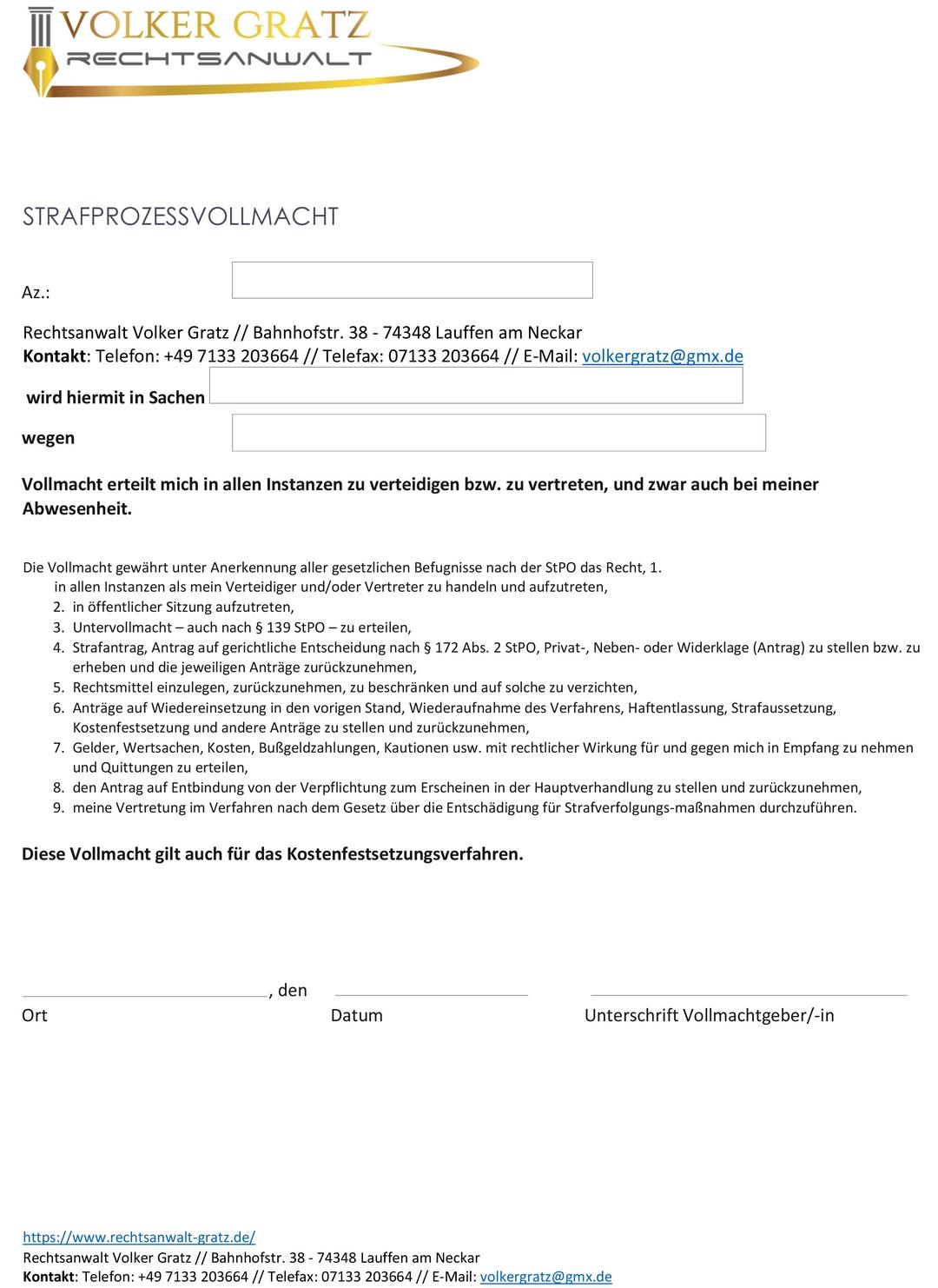 Vollmacht download